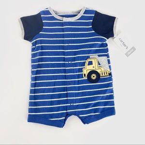 Carters blue striped romper nwt
